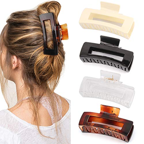 Canitor 4.1 Inche Large Hair Claw Clips 4 PCS, Hair Clips for Thick Hair Acrylic Banana Claw Clips Non-slip Hair Clip Rectangular Jaw Clips Big Hair Clips