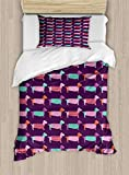 Ambesonne Dachshund Duvet Cover Set, Sixties Inspired Color Palette with Abstract Pet Puppies Pattern Funky Animals, Decorative 2 Piece Bedding Set with 1 Pillow Sham, Twin Size, Purple Pink