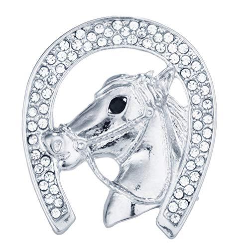 Zuiaidess Broches Y Alfileres para Mujer,Suerte Animal Rhinestone de aleación de Plata Herradura Cabeza de Caballo Polo Unisex Bisutería Brooch Pin para la Mujer