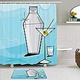 JOSENI 2 Piece Shower Curtain Set with Non-Slip Bath Mat,Liquor Blue Retro Martini Vignette Shaker Shot Glass Cocktail Party 50S Modern Bar Design,12 Hooks,Personalized Bathroom Decor