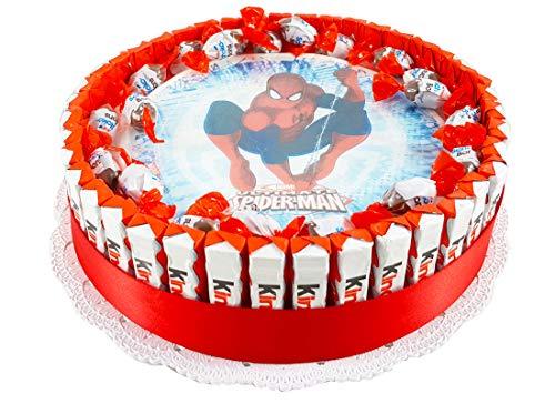 Torta barrette Kinder con cialda personaggio - kit fai da te (SPIDERMAN)