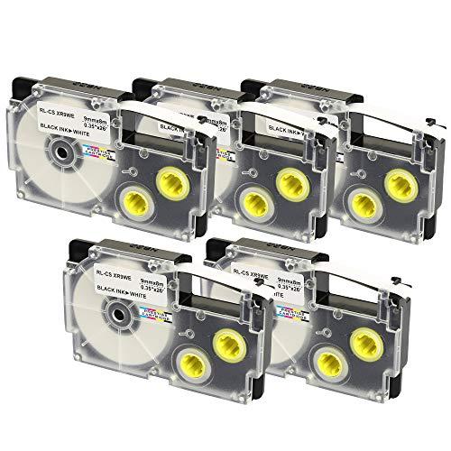 5 Cassettes XR-9WE XR-9WE1 nero su bianco 9mm x 8m Nastri compatibili per Etichettatrice CasioKL-60 KL-100 KL-120 KL-200 KL-300 KL-750 KL-780 KL-820 KL-2000 KL-7000 KL-7200 KL-8100 KL-8200 CW-L300