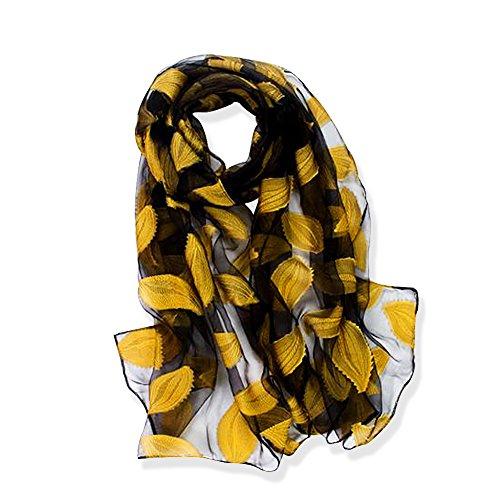 YFZYT Organza-Schal für Damen mit Feder Stickerei Muster/Elegantes Accessoire für Frauen/Organza-Schal/Halstuch/Schulter-Tuch/Schal Chiffon Stola Scarves - Gelbe Blätter