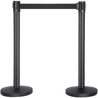 Yaheetech Belt Stanchion Queue Barriers Security Pole Posts Crowd Control Stanchion with 6.5FT Retractable Belt Stanchion Set, 2-Pack