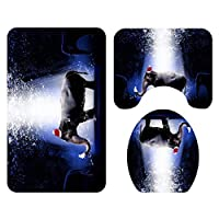 NUSSKACKA フロアマット トイレマット 玄関マット エレファントプリント 滑り止め 吸水 速乾 3点セット ブラックパープル