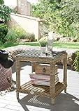 Destiny Loungetisch Merano Tisch Pearl Shell Polyrattan Beistelltisch Kaffeetisch 50 x 46 cm