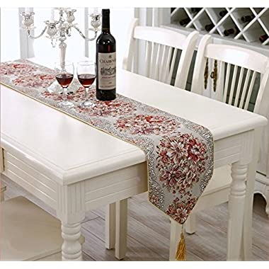 Aothpher 11 inch by 98 inch Classic Embroidery Tassel Dining Red Table Runners for Wedding and Party