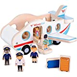 Imagination Generation WondAir Passenger Jet Playset | Wooden Airplane Children's Toy with Passengers, Pilots, Cabin Crew, & Luggage Accessories (11 pcs.)
