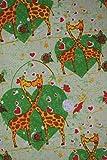 Quilt Fabric Green Giraffe Heart Print Craft Apparel By The Yard 45' Wide #106
