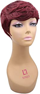 Short Red Wigs for Black Women Pixie Curly Synthetic Wigs for Women short sexy wigs Natural Wave Wig Women's Fashion Full Hair Wigs Red Pixie Cut Wig(Bug)