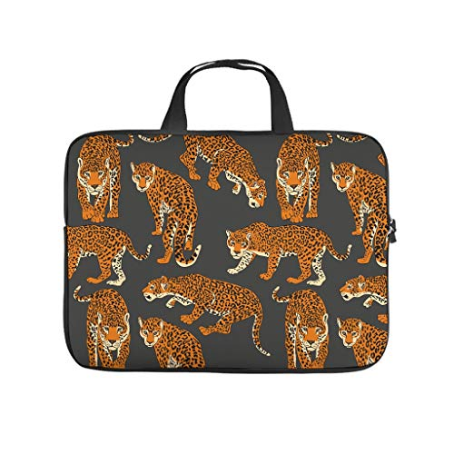 Brown Animal Leopard Laptop Bag Trendy 3D Print Tablet Storage Bag Soft Neoprene Fabric Laptop Case for Businessmen Office Staff white 12inch