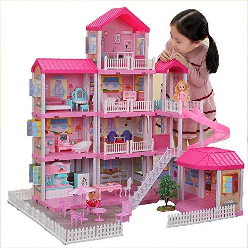 Wohnausrüstung Puppenhausmodell Mädchen Prinzessin Villa Spielzeug Handgemachtes Puppenhaus Schloss DIY Haus Spielzeug Puppenhaus Geburtstagsgeschenke Lernspielzeug Dekoratives Miniaturpuppenhausmo