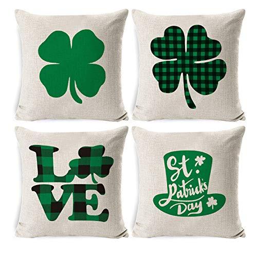 Moent Paquete de 4 fundas de almohada para el día de San Patricio, 45,7 x 45,7 cm, diseño de trébol de la suerte, color verde