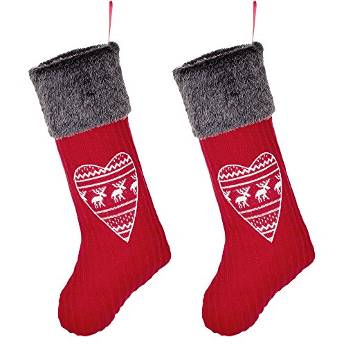 Calza di Natale set + free Gift–tradizionale Highland tartan stampa patchwork marrone calza con pulsante dettagli–rifinito a mano in UK e scelta di free Gift–ideale regalo precoce