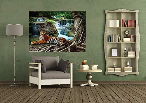 AG Design FTM 0846 Tiger op waterval, papier fotobehang - 160x115 cm - 1 stuk, papier, multicolor, 0,1 x 160 x 115 cm