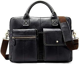 FYXKGLan Men's Head Layer Cowhide Genuine Leather Cross Shoulder Satchel Men's Business Briefcase (Color : Black)