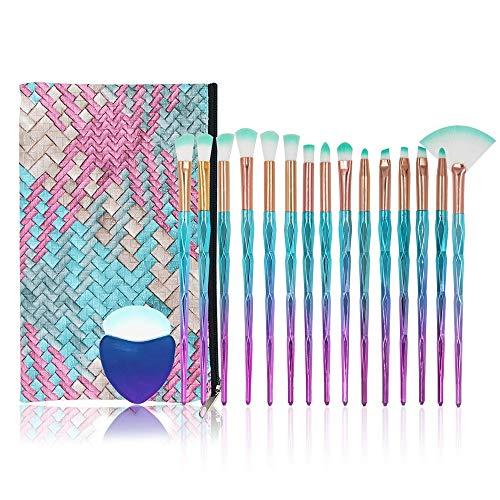 Conjuntos de pinceles de maquillaje de diamante, NIZIYI 15PCS Set de pinceles...