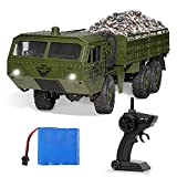 RC Military Truck, 1/16 Scale Remote Control Army Car 6WD 2.4Ghz Off Road RC Vehicle Crawler All Terrain Car Toy for Boys Adults and Kids