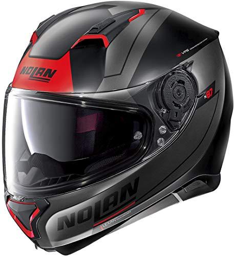 Nolan N87 Skilled N-Com - Casco para moto, color negro mate y rojo XXL (63)