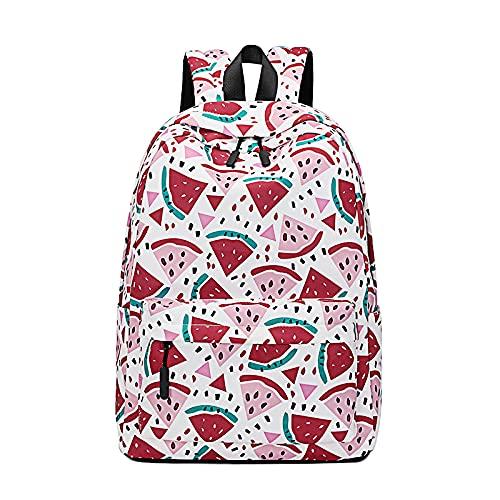 QIANJINGCQ Moda todo-fósforo pequeña mochila con estampado de cereza fresca para mujeres estudiantes de secundaria mochila de escuela primaria mochila ligera simple