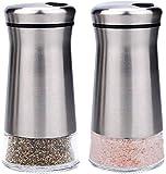 bonris Salière et poivrière en acier inoxydable avec fond en verre et trous de versement réglables