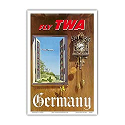 Germany - Fly TWA (Trans World Airlines) - German Black Forest Cuckoo Clock - Vintage Airline Travel Poster by William Ward Beecher c.1952 - Master Art Print - 12in x 18in