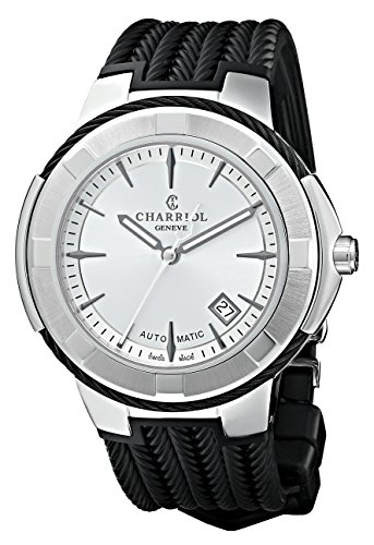 Charriol Celtic XL Men's Silver Dial Black Rubber Strap Automatic Watch CE443AB.173.003