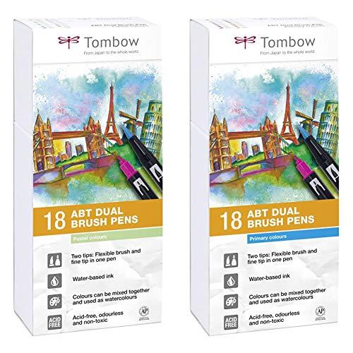 Tombow ABT-18P-5 Satz mit 18 2-Punkt-Pinselmarkierungen, Pastellfarben, Gehäuse & ABT-18P-1 Satz mit 18 2-Punkt-Pinselmarkierungen, Primärfarben, Gehäuse