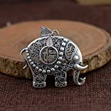 THTHT S925 Vintage Silver Necklace para Las Mujeres 3D Creative Hueco Elefante Grabado Clásico Y Elegante Personalidad Singular Don Unisex
