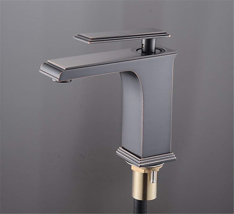 JONTON Faucet faucet faucet, all copper black European square single hole hot and cold mixed water wash basin basin bathroom