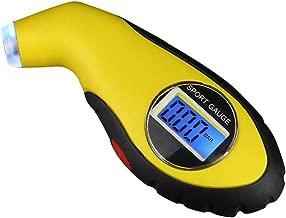 Ballylelly Medidor de presi/ón de neum/áticos Digital de Alta precisi/ón 150 PSI 4 configuraciones LCD con retroiluminaci/ón Medidor de neum/áticos Antideslizante para Bicicleta de cami/ón de Coche