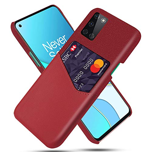 AOUVIK Estuche para Tarjetas Delgado Compatible con Oneplus 8T, Oneplus 8 Pro, Estuche para teléfono One Plus 8 con Soporte para Tarjetas, diseño de Ranura para Tarjetas de Cuero,Rojo,8 Pro