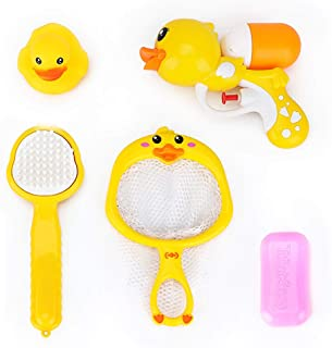 5 PCs Baby Bath Toys for Toddlers 1 2 3 4 5 Years Boys and Girls,Bathtub Swimming Pool Fishing Toys  Kids with Basket