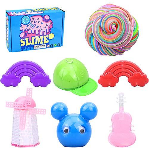 BESTZY Fluffy Slime Putty Slime, DIY Slime Kit Set, Arcilla Seca al Aire, Fairy Putty Stress Relief Toy Perfumado Sludge Toy Niños Adultos, 6 Piezas (390g)