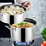 Stainless Steel Steamer Pot, 2 Layer Cooking Soup and Steaming Food Steam Pot Multi-layer Boiler Sauce Pot with Handle for Kitcken Cooking Tool 7.9x11.4in