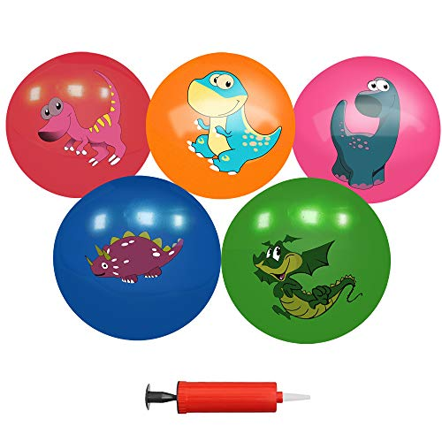 Soft Ball Set for Toddlers Baby Kids Playground Beach Pool Toys Party Favors - Pack of 5 Dinosaurs Pattern Inflatable Rubber Balls Bulk with Air Pump