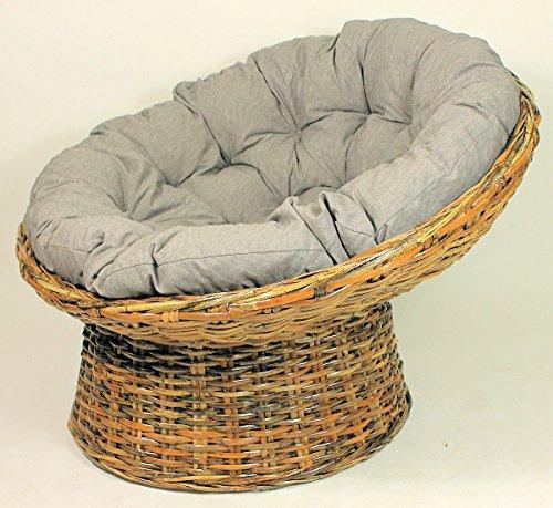 XXL Rattansessel, Rattan Papasan Sessel inkl. hochwertigen Loneta Polster, Material Abacca, D 110 cm, Fb. koobo Brown