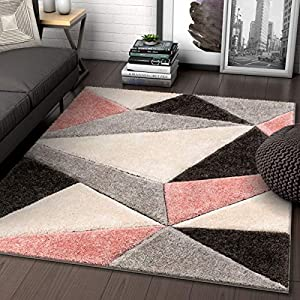 "Well Woven Walker Pink Triangle Boxes Thick Soft Plush 3D Textured Shag Area Rug 4×6 (3'11"" x 5'3″)"