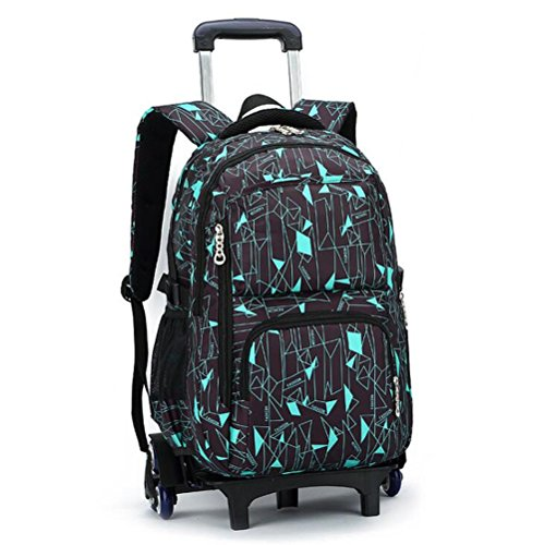 YUB Rolling Backpack On Wheels High-Capacity School Bag Backpacks for Students Climbing Stairs Six Wheels Blue Box
