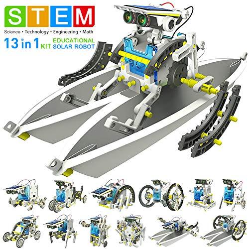 KMiKE Solar Robot Kit for Kids 13-in-1 Educational STEM Science Robot Kit Toys DIY Assembly Robot Kit for 8-12 Year Old Children, Best Gift for Your Kids