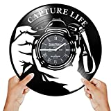 Photographer Clock - Photographer Gifts for Women Men - Camera Wall Clock - Gifts for Photography - Photography Gifts for Women – Photography Themed Gifts - Wall Décor Vinyl Record Clock Black