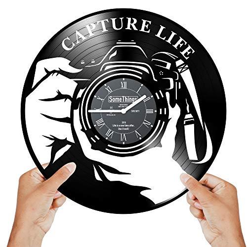 Photographer Clock - Photographer Gifts for Women Men - Camera Wall Clock - Gifts for Photography - Photography Gifts for Women – Photography Themed Gifts - Wall Décor Vinyl Record Clock Black