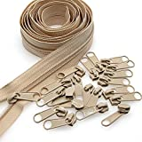 #3 Beige Nylon Coil Sewing Zippers by The Yards Bulk 10 Yards with 25pcs Sliders for DIY Tailor Sewing Craft Bags,Luggage,Dress,Sofa Cushion,Pillow <span class='highlight'><span class='highlight'>Leekayer</span></span>(Beige)