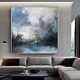 wZUN Pintura al óleo Abstracta Pasillo del Porche Pintura Decorativa Estilo nórdico Simple habitación Modelo gráfico de Pared Azul 60x60 Sin Marco