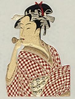 Japanese Kin-makie Sticker +Attoo The Woman Playing Bidoro by Utamaro