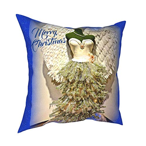 Throw Pillow Covers,Angel Mannequin Dress Form Christmas Tree Home Decorative Couch Pillow Cases Square Cushion Covers for Sofa,Living Room,Bed 18 x 18 inches