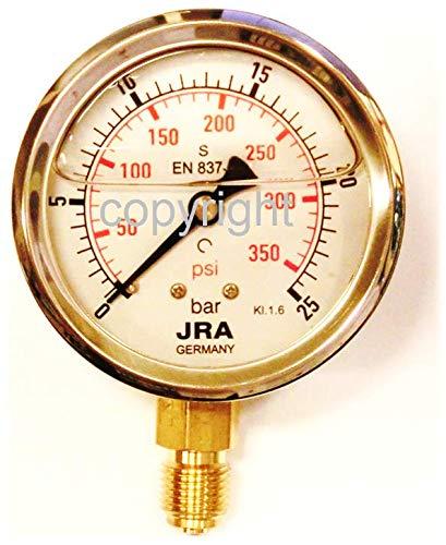 """JRA-Longlife Glyzerin Manometer 0-25 bar/psi NG63 Anschluss unten G1/4"""""""