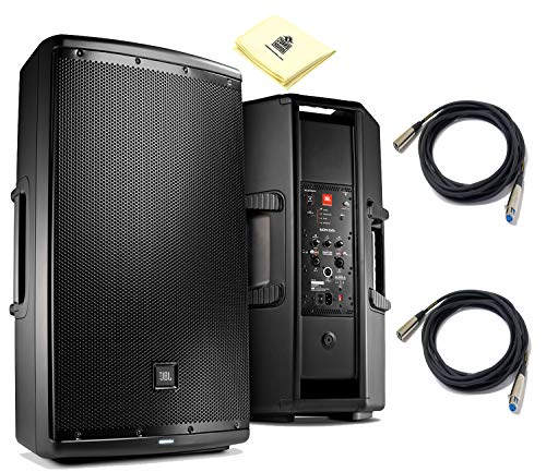 """JBL EON615 15"""" Two-Way Multipurpose Self-Powered Sound Reinforcement Powered Speaker (Pair) with Onboard DSP EQ and Wireless Remote Control via Bluetooth (each) 2x Senor Mic Cable & Zorro Sound Cloth"""