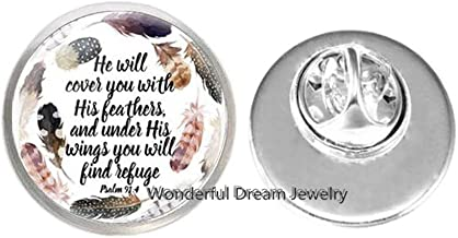 Waozshangu He Will Cover You Will His Feathers and Under His Wings You Will find Refuge Psalm 91 4 Cufflinks Bible Verse Jewelry Gift,PU363