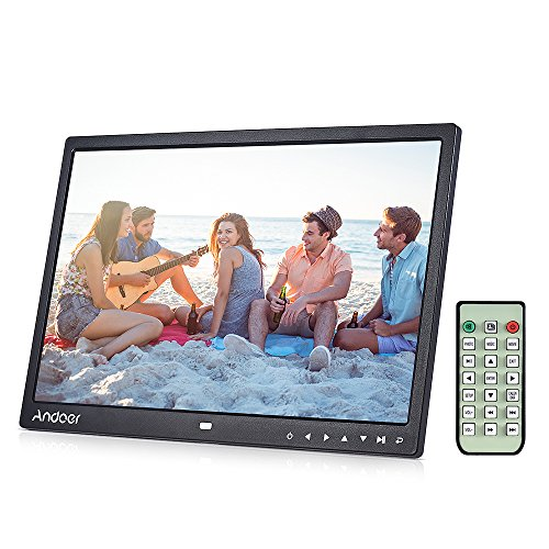 Andoer 15 zoll LED Digitaler Bilderrahmen mit MP4/MP3/e-book/Uhr/Kalender/High-Definition 1280x800 Pixel-Display mit Touch-Taste/Infrarot-Fernbedienung/Unterstüzt 14 Sprachen mit Halter
